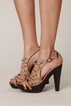Free People Shoes Limited Edition Leather Wooden Heel