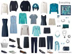 Капсула Шкаф в темно-синий, кремовый и чирок или бирюзой