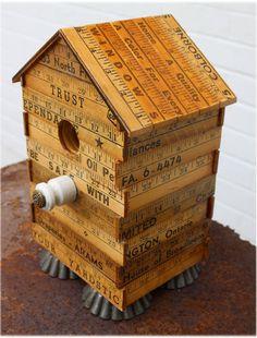 Yardstick Birdhouse, Vintage Yardsticks Bird House, Steampunk, Repurpose Materials, Vintage Tart Tins, Hydro Insulator by JunkWhisperers on Etsy