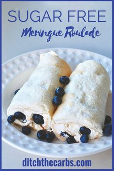 Beautiful and simple sugar-free meringue roulade. A great way to use up egg whites and  a warm oven. | ditchthecarbs.com via @ditchthecarbs