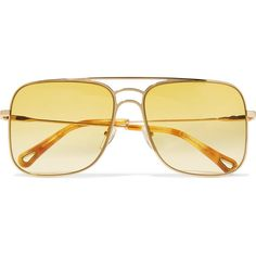 Chloé Aviator-style gold-tone sunglasses (645 BGN) ❤ liked on Polyvore  featuring accessories, eyewear, sunglasses, gold, chloe aviators, aviator  style ... 9719c788fd3