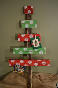 Green and red polka dot reclaimed wood Christmas card holder
