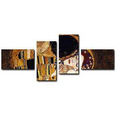 Quadro moderno 4 pz stampa su tela cm176x74 quadri XXL arte klimt il bacio