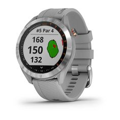 - Stylish, lightweight GPS golf watch with a sunlight-readable 1.2 color touchscreen display with metal bezel and quick release bands - Preloaded with more than 41,000 courses from around the world - AutoShot detection measures and auto-records detected shot distances - Green View feature allows manual pin positioning - Tracks everyday activities such as steps and sleep and includes built-in multisport profiles - Battery life: up to 15 hours in GPS mode; up to 10 days in smartwatch mode  The App Golf Gps Watch, Smartwatch Features, Audio, 1. Tag, Android Watch, Swiss Army Watches, Waterproof Watch, Unisex, Watch Bands
