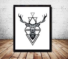 Stag Head Deer Head Wall Art Print Deer Print Deer by CosmicPrint