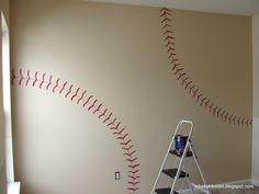 Art Baseball theme room wall paint baby boy nursery toddler teen sports bedroom infant ball team decal decor athlete child guy man cave softball girl mlb major league paint athletic DIY major league kid home-rooms Do It Yourself Design, Do It Yourself Home, Baby Boy Nurseries, Baby Cribs, Casa Kids, Just In Case, Just For You, Room Wall Painting, Boy Room Paint