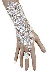 Time Pawnshop Elegant White Lace Rose Pearl Ring Lady Wrap Bracelet