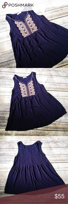"""MOVING SALE  Altar'd State Embroidered Tunic Top ★ NWT, perfect condition.  ★ This super cute navy and pink embroidered tunic top (dress?) from Altar'd State is a must have and perfect for summer and fall! ★ NO TRADES!  ★ NO MODELING!  ★ YES REASONABLE OFFERS!  ★ Measurements: Bust laying flat: 18"""", Length: 31"""". Altar'd State Tops"""