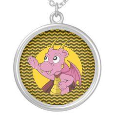 Pink dragon cartoon pendants