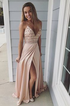 2018 Pink Spaghetti Straps Beaded Long Prom Dress,Sheath Evening Dresses with Slit Side