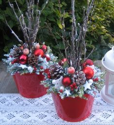 """dressing up"" those lighted twig branches! Christmas Planters, Christmas Porch, Outdoor Christmas, Christmas Projects, Christmas Holidays, Christmas Wreaths, Christmas Ornaments, Christmas Flower Arrangements, Christmas Flowers"