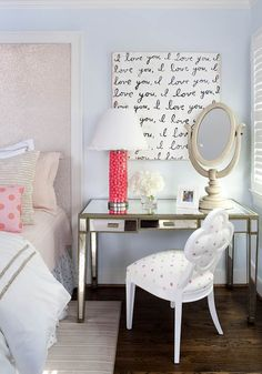 Kristin Peake Interiors - girl's rooms - Benjamin Moore - In Your Eyes - Worlds Away Vivien Mirrored Desk, i love you art