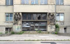 Terrific example of communist era decay in Bratislava. This used to be a hospital.
