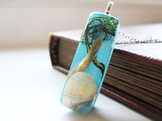 Real Shell and Green Grass Resin Pendant Resin by lowelowejewelry, $22.00