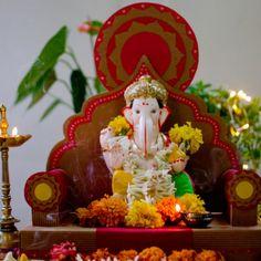 Karwak in Pune, Maharashtra Mandir Decoration, Ganpati Decoration At Home, Ganapati Decoration, Wedding Decoration, Ganesha Art, Ganesh Idol, Shri Ganesh, Lord Ganesha, Krishna
