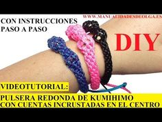 ▶ COMO HACER PULSERA REDONDA EN KUMIHIMO CON CUENTAS INCRUSTADAS EN EL CENTRO. TUTORIAL DIY - YouTube