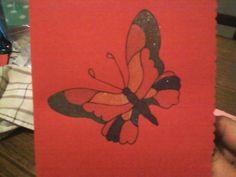 tarjeta pintada a mano...mariposa