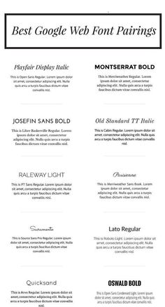 Google web font pairings. The BEST web fonts and how to pair them correctly for marketing purposes.