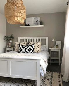 IKEA HEMNES, Bedside table, grey, Smooth running drawer with pull out stop. Combines with other furniture in the HEMNES series. White Bed Frame, Home Bedroom, Bedroom Interior, Bedroom Furniture, Bedroom Furniture Makeover, Bedroom Inspirations, Storage Hacks Bedroom, Hemnes Bedside Table, Ikea Bedroom