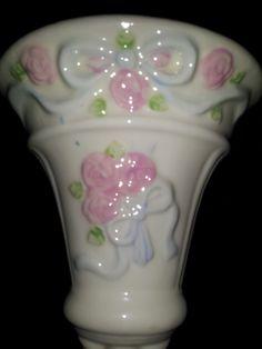 Vintage Porcelain Wall Pocket White Pink Shabby Rose Painted Ribbon Shabby Cottage