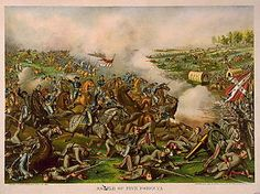 "The Battle of Five Forks was fought on April 1, 1865, southwest of Petersburg, Virginia, around Five Forks, Dinwiddie County, Virginia, during the Appomattox Campaign of the American Civil War.  The battle was known as the ""Waterloo of the Confederacy."""