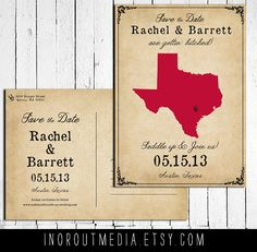 State Save the Date Card  Vintage Rustic Western by inoroutmedia, $55.00
