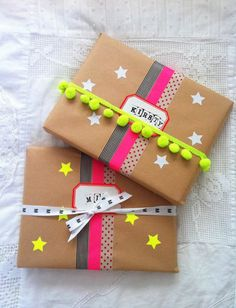 Washi gift wrap with stars and poms