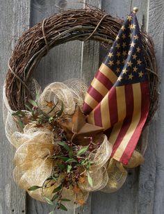 Americana Wreath, Patriotic Wreath, Fourth of July