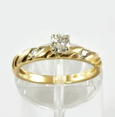 Vintage Diamond Engagement Ring  14K Yellow Gold  1970s