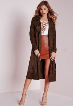 Faux Suede Trench Coat Brown