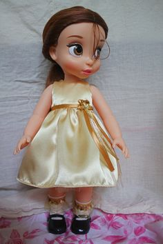 Yellow Satin Dress for Disney Animator Collection Doll