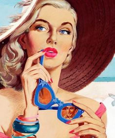 """Romance by the Beach"""" story illustration c. -""""A Romance by the Beach"""" story illustration c. - vintagegal: Illustration by Jon Whitcomb c. 1960 This lovely lady appeared in an ad for Jantzen swimsuits in the UK. Retro Images, Vintage Images, Vintage Posters, Foto Glamour, Arte Pop, Pulp Art, Pin Up Art, Retro Art, Portrait"""