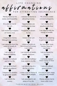 50 Affirmations for Abundance Mindset - - Looking to call more abundance into your life? Change your mindset. Often times, we create so many mental blocks based around fears or self doubt that block our potential. We cannot see opportuniti…. Daily Positive Affirmations, Positive Affirmations Quotes, Money Affirmations, Affirmation Quotes, Positive Quotes, Healing Affirmations, Affirmations For Love, Miracle Morning Affirmations, Prosperity Affirmations