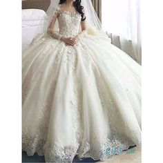 H1389 Dreamy cathedral train princess ball gown wedding dress ❤ liked on Polyvore featuring dresses and wedding dresses