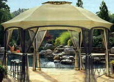 Replacement canopy for the Dawson 12' x 15 Hexagonal Gazebo SS-I-138-3NGZ,0-03919699-3 part of the Kmart Garden Oasis Collection #freeshipping
