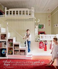 Love this! Love the stairs / cubby combo and the two beds! They used an old headboard / footboard for rails in the lofts.