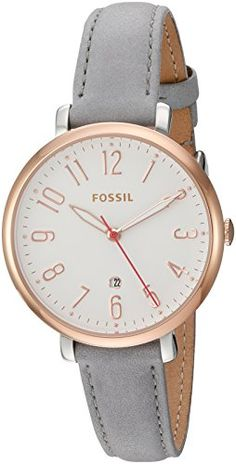 Fossil Women's Jacqueline Three-Hand Date Gray Leather Watch Gray Leather Watch Durable mineral crystal protects watch from scratches Quartz Movement Best Watch Brands, Luxury Watch Brands, Luxury Watches For Men, Fossil Watches, Seiko Watches, Cool Watches, Stylish Watches, Cheap Watches, Modern Watches