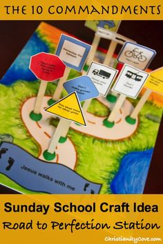 10 Commandments Craft: Road to Perfection Station.  Great Bible craft for Sunday school or Christian homeschoolers.