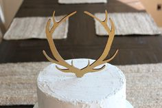 Glitter Antler Cake Topper Rustic Wedding by DownInTheBoondocks