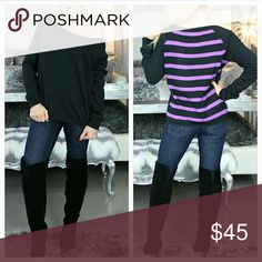 """Sassy little top with stripes Brand new with tags  Grab this warm and sassy top from Aeropostale. The front is solid black soft sweatershirt material, the back is a knitted black and purple striped print. Unfinished edges at neckline, sleeve ends and botton. Pair with leggings/jeans and boots! Perfect for the season!  Bust 19"""" across Length 23"""" Size medium  Shop with confidence Suggested User Same day shipping 5star rated closet Top seller Aeropostale Tops"""