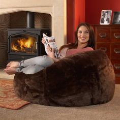 ICON XL Panelled Faux Fur Bean Bag Chair   Extra Large Bean Bags BROWN    Large