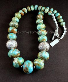 Turquoise Rondelle Bead Graduated Necklace with Tibetan & Sterling Silver
