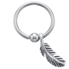 Feather - 925 Sterling Silver Sliding Charm Captive Bead Ring - 16 Gauge | UNIQUE SLIDING DANGLE CAPTIVE BEAD RING BODY JEWELRY A beautiful 925 sterling silver feather delicately hangs down from this great captive bead ring.  The flawlessly crafted feather charm moves freely around the barbell.  An amazing twist to an already amazing piece of body jewelry that is perfect for almost any body piercing. It is a must-have for anyone with a body piercing!  The barbell on this captive is made from…