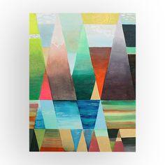 Geometric pattern on wood panel with Golden High Flow acrylic / Jeu de triangles sur panneau de bois avec la peinture acrylique High Flow de Golden | DeSerres