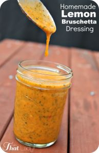 Lemon bruschetta salad dressing - use avocado instead of tomato