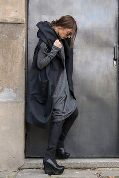 Gorgeous Sleeveless Hooded Grey AAKASHA COAT / Unique Ends and Edgy LOOK Large Front Pocket Double sided opening pocket Extravagant and Unique Grey Asymmetrical Casha Coat Wear it over a leather jacket,sweater, blouse,shirt,top ,tunic... With Zip and large pocket....so comfortable and always