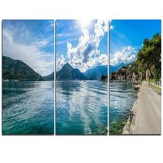 DesignArt Kotor Bay on Summer Day Panorama - 3 Piece Photographic Print on Wrapped Canvas Set