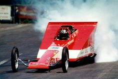 "Don ""Snake"" Prudhomme's 'wedge' top fuel dragster. Great idea,but ultimately a bit too heavy."