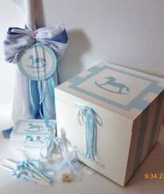 Rocking Horse Baptism Set - Child's name can be printed on the candle, baptism box and small oil box. Greek Wedding, Irish Wedding, Unity Candle, Candles, Boy Baptism, Baby Shower, Christening Gifts, Decorative Boxes, Horses