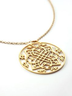 Arabesque Medallion Necklace in Gold by Marion Cage from Marion Cage Jewelry